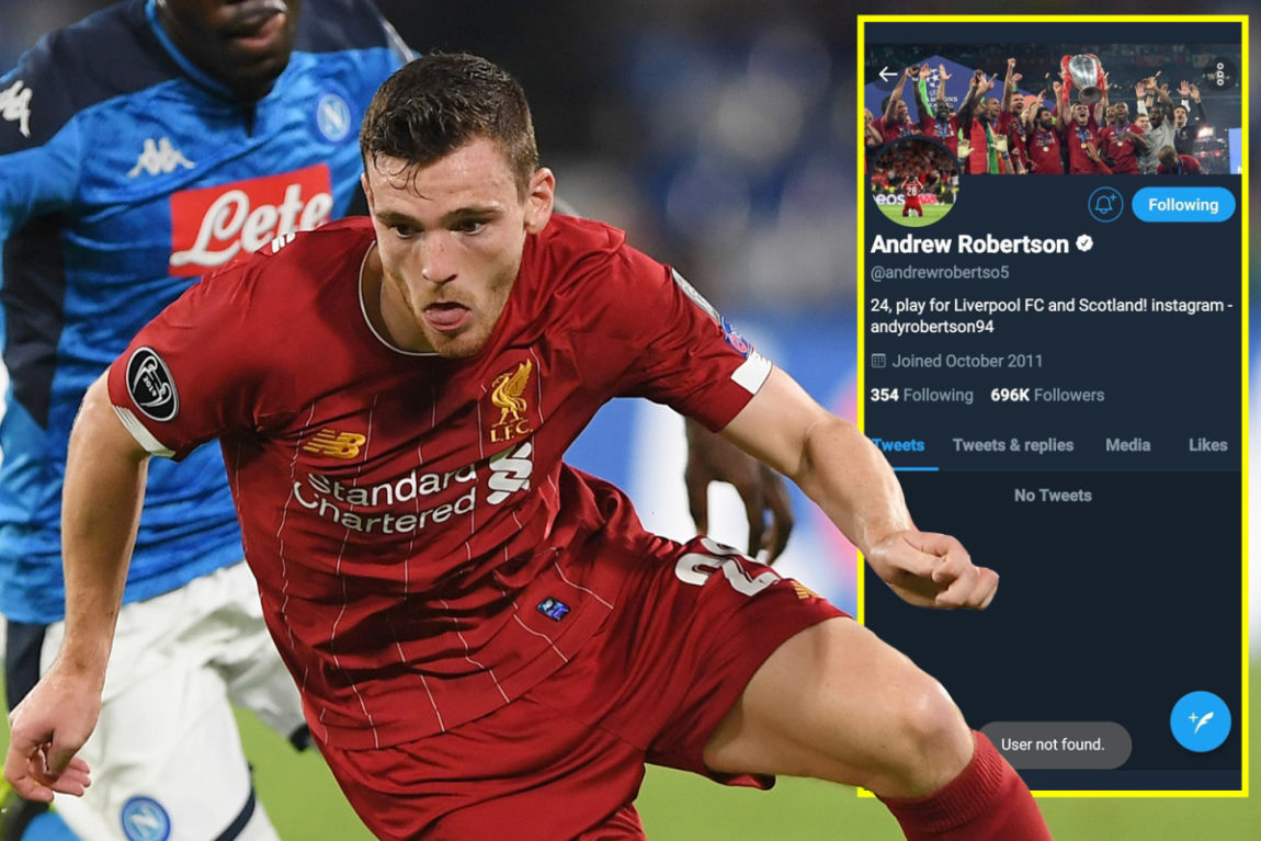 Andy Robertson: Liverpool protector appears to shut off Twitter account in wake of social networks abuse after Napoli defeat