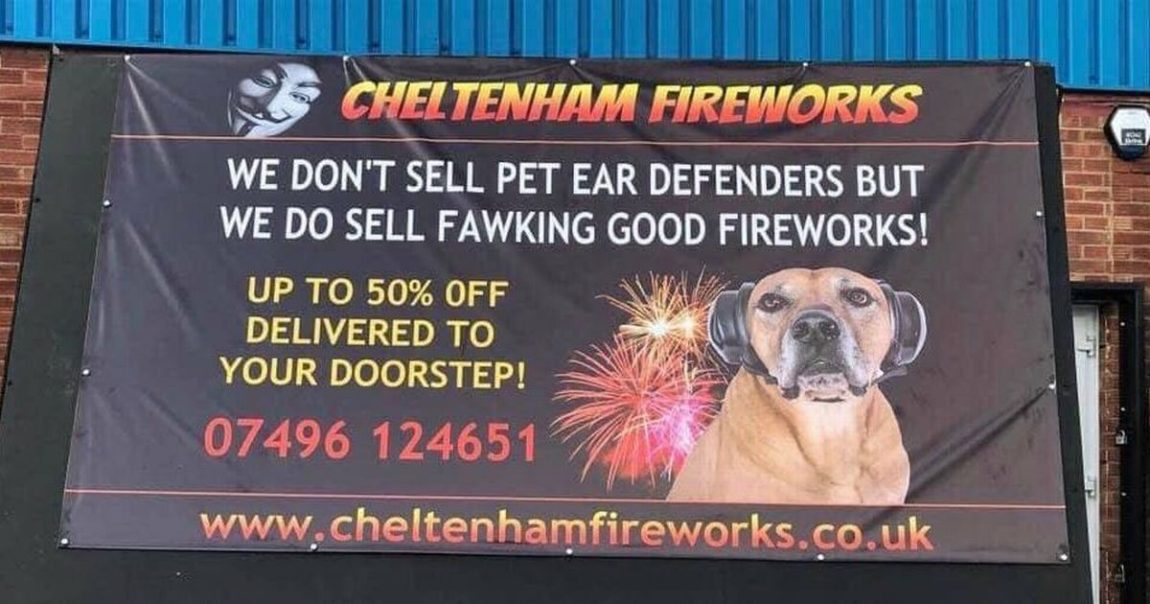 Social media reaction to advert from Cheltenham fireworks company which reveals photo of dog with its ears covered – Gloucestershire Live