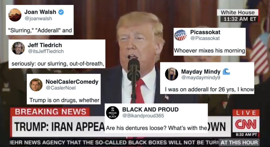 Social media takes off after Trump sniffles and snorts his way through Iran presser
