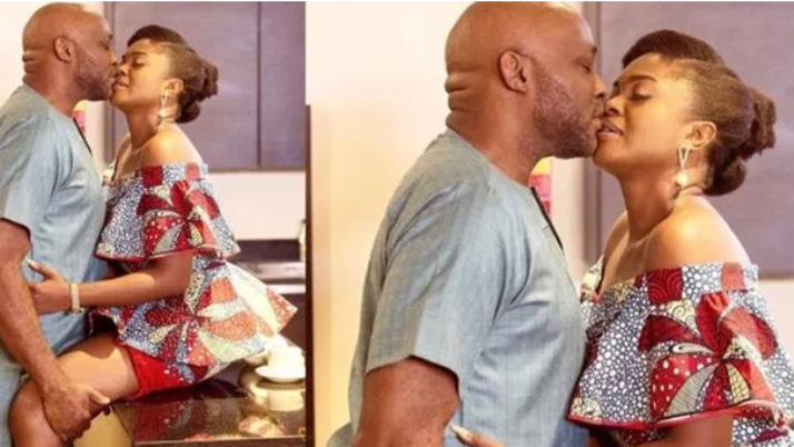 Social network goes wild as RMD kisses Omoni Oboli passionately on motion picture set
